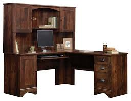 sauder harbor view corner computer desk with hutch curado cherry transitional desks and