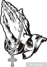 Fototapeta Vinylová Modlit Se Za Ruce S Růženec Tetování