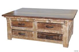 Rustic Solid Wood Coffee Table With Storage Drawers And End Tables