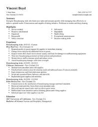 resume example housekeeping free cover letter templates template - house  keeping resume