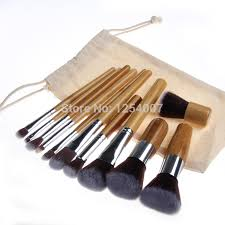 new 11pcs high quality bamboo make up makeup brush set cosmetic makeup brushes kit with bag