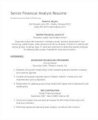 Financial Analyst Resume Template Senior Financial Analyst Resume