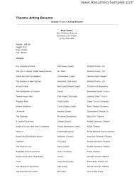 Sample Musical Theatre Resume Resume Tali Sample Theater Resume Theatre  Resume