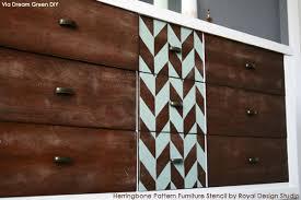 pattern furniture. Midcentury Modern Furniture Makeover Via Dream Green DIY | Herringbone Pattern Stencil By Royal Design U