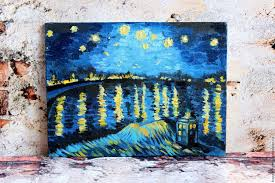 landscapes handmade livemaster handmade oil painting starry night and the tardis