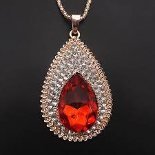 rose gold plated red clear crystal teardrop pendant sweater necklace