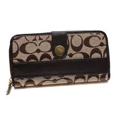 Coach In Signature Large Coffee Wallets 22875