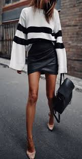cute fall outfit white black top plus leather mini skirt plus backpack plus heels