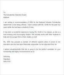 Scholarship Recommendation Letter Sample Free 32 Sample Letters Of Recommendation For Scholarship In