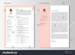 Feminine Resume Cover Letter Infographic Design Stock Vector