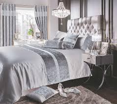 silver grey shimmer diamante sparkle crushed velvet duvet cover luxury modern bedding range