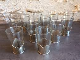 set of vintage 12 moroccan silver wire galls traditional mint tea glasses la144723 loveantiques com