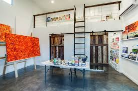 art for home office. Home Art Studio Design Ideas Office Contemporary With Colorful Paintings Sliding Barn Door Beige Wall For I