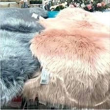 pink faux fur rug photo blush rose round