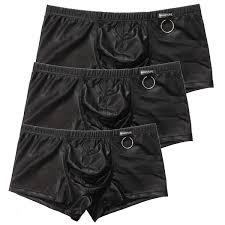 black y mens boxer shorts underwear false leather