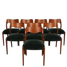 set of 8 danish modern teak green seat dining chairs