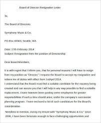 Sample Resignation Letter From Board Member Board Member Resignation Letter Sample Sample Director