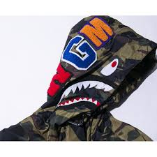 a bathing ape shark face hood jacket camo