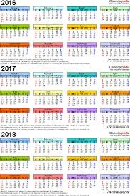 three year calendar 2016 2017 2018 portrait orientation in full color