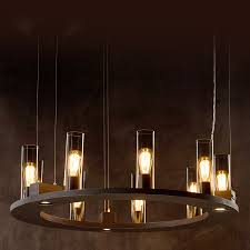 Eye Catcher Ring Hanging Lamp With Smoke Glass Cylinders