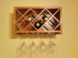 light brown wooden bottle shelves with rhombus shape combined with glass holder under it placed on