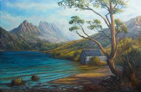 oil on stretched linen cradle mountain tasmania painting vidal
