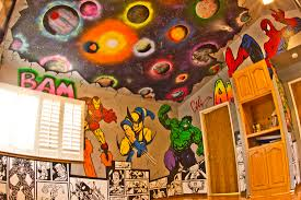 Marvel Superhero Bedroom Superhero Room Graffiti Walls With Marvel And Dc Characters And