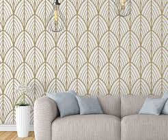 art deco leaves removable wallpaper on art deco wallpaper images with art deco leaves removable wallpaper moonwallstickers