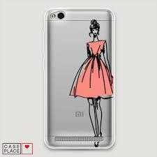силиконовый чехол эскиз девушка в платье на Xiaomi Redmi 5a