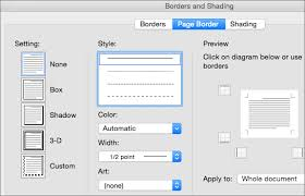 select the style color and width for the page border