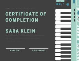 Piano Certificate Template Grey Green Music Piano School Student Certificate Templates By Canva