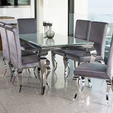 kitchen table and chairs. Riviera White Glass Dining Table And 6 Or 8 Velvet Chairs (2 Sizes) Kitchen