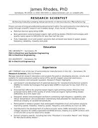 Resume Examples Scientist