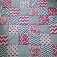 Shop Gray Chevron Quilt on Wanelo & SALE Baby girl pink gray white minky quilt - chevron dots damask Adamdwight.com