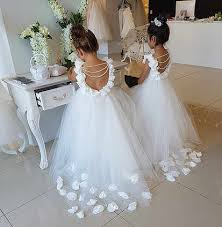 Backless white/ivory <b>lace flower girl dress</b> with pearls and <b>flowers</b> ...