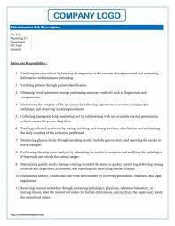 Phlebotomist Job Description For Resume New Phlebotomist Sample Job