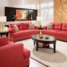 red couch living room red sofa