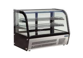 polar refrigerated countertop curved glass display cabinet 120ltr