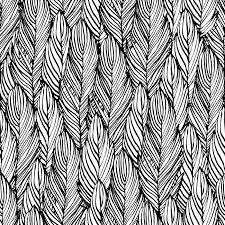 Pattern Drawing Enchanting Outline Hand Draw Feather Seamless Pattern Black And White Colored
