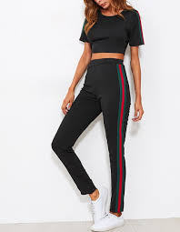gucci pants. pants girly black red green stripes gucci two-piece crop tops cropped matching set