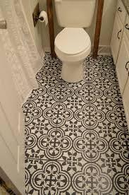 Chalk paint and stenciling on a linoleum bathroom floor