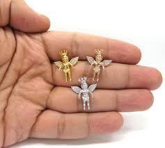 14k yellow white or rose gold mini crowned diamond baby cherub pendant 0 11ct