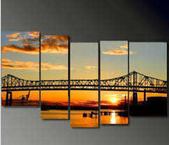 modern oil painting canvas wall art bridge at sunset famous landscape pictures home decoration 5 panel quadros decorativos in painting calligraphy from