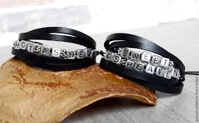 bracelets handmade livemaster handmade leather couple love bracelets letter name bracelet