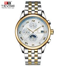 popular self winding watches men buy cheap self winding watches tevise automatic mechanical watches men self wind luxury moon phase stainless steel luminous calendar wristwatches tvs08