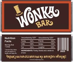 chocolate bar wrappers willy wonka inspired birthday candy bar wrappers