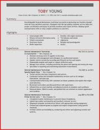 Mechanic Resume Skills Unique General Maintenance Technician Resume ...