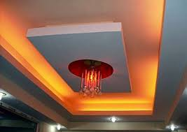 7 rectangular false ceiling with red lighting