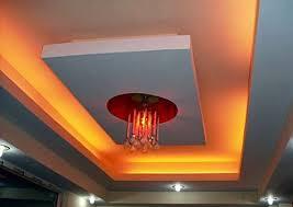 7 rectangular false ceiling with red lighting