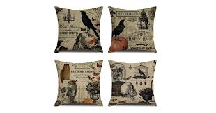 4Pcs <b>Halloween</b> Skull Pillowcase <b>Digital Printed</b> Linen Pillowcase ...